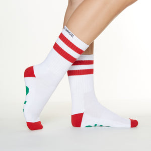 Ho Ho Ho socks side profile view