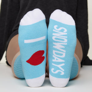 I Heart Snowdays socks bottom front view