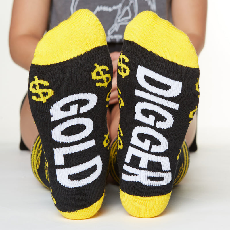 Gold Digger socks bottom front view