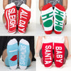 Christmas socks set #2 4 pairs fa lalala, candy canes, xmas &chill bottom front view grid