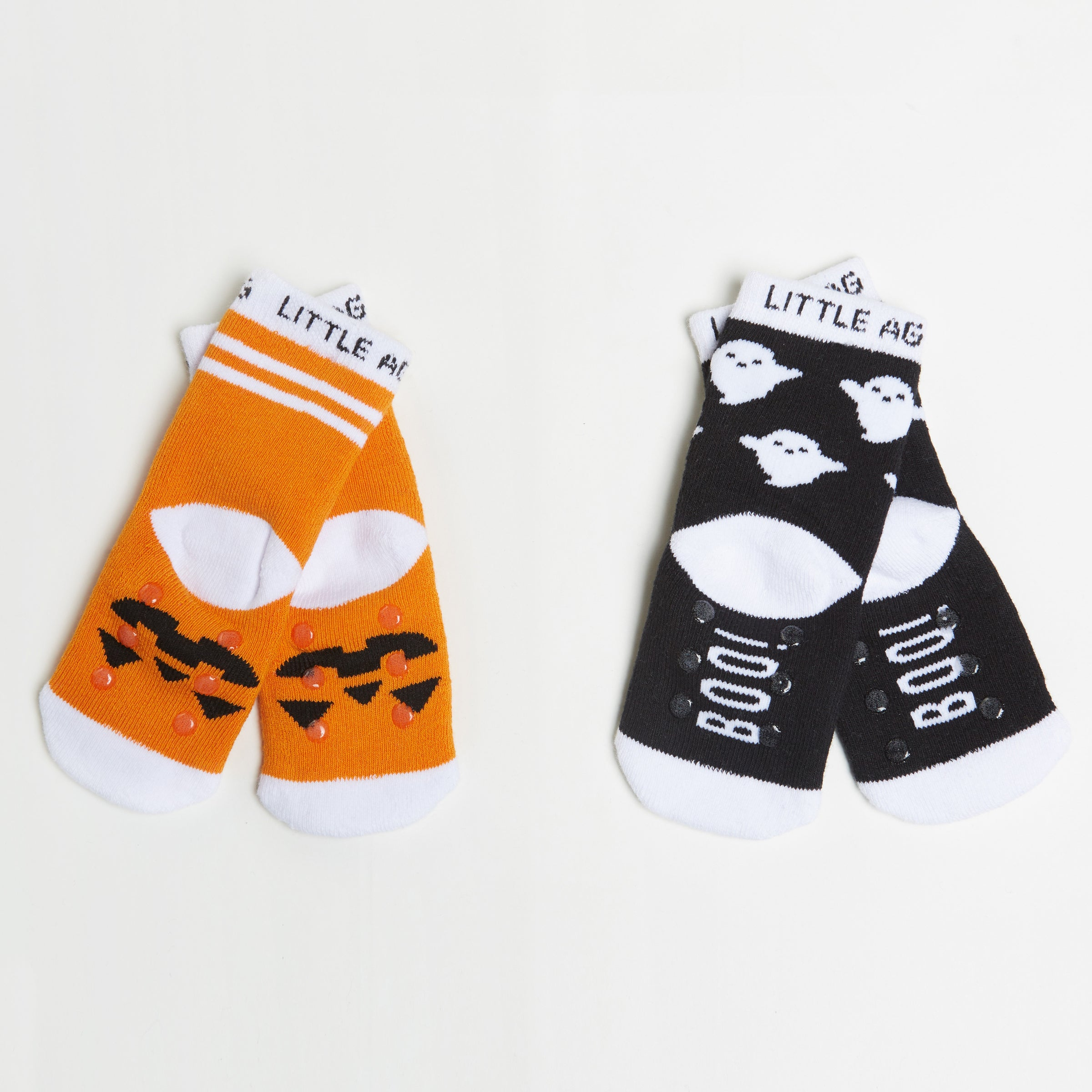 Pumpkin/Ghost Kids Halloween Socks - Two Pack bottom back view crossed