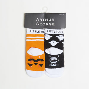 Pumpkin/Ghost Kids Halloween Socks - Two Pack bottom back view