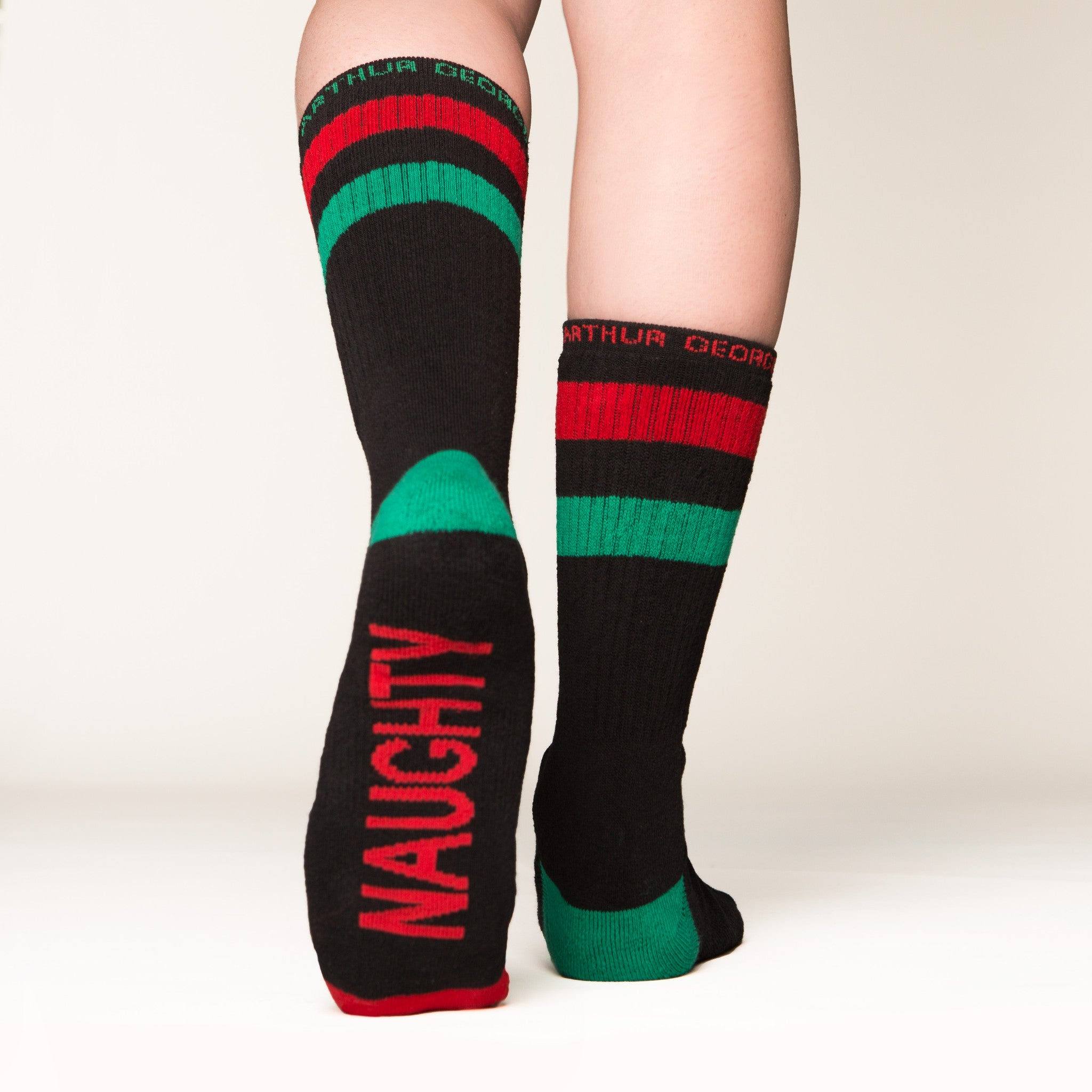 Naughty Nice socks bottom left view