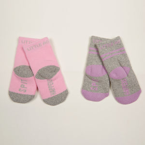 Spit Happens Kids Girls Socks - Two Pack bottom back view crossed