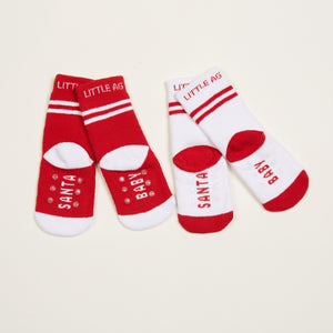 Santa Baby Kids Socks - Two-Pack bottom back view crossed