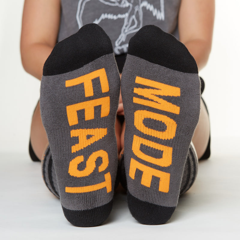 Feast Mode socks bottom left back view