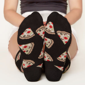 Pizza socks bottom front view