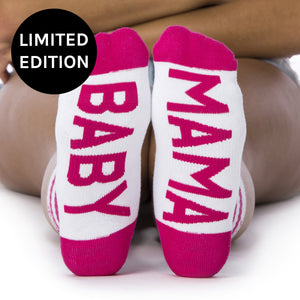 Limited Edition - Baby Mama socks bottom front view  Limited Edition