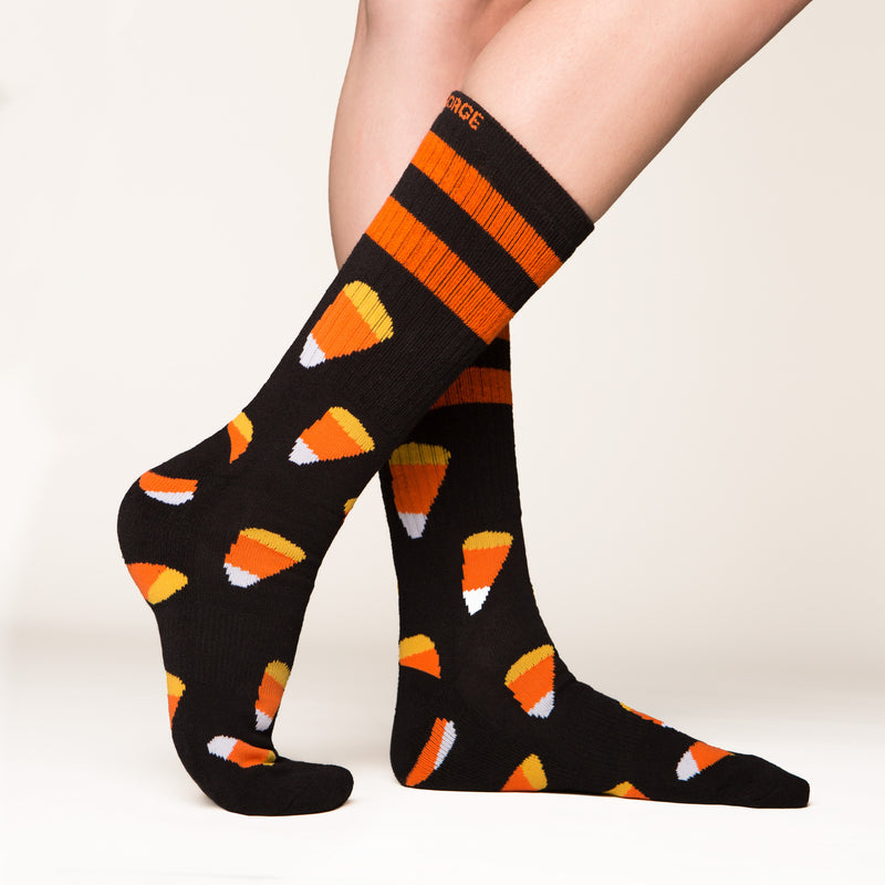 Candy Corn socks side profile view