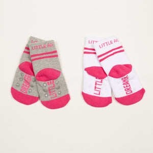 Little Dreamer kids socks girls two pack bottom back view crossed