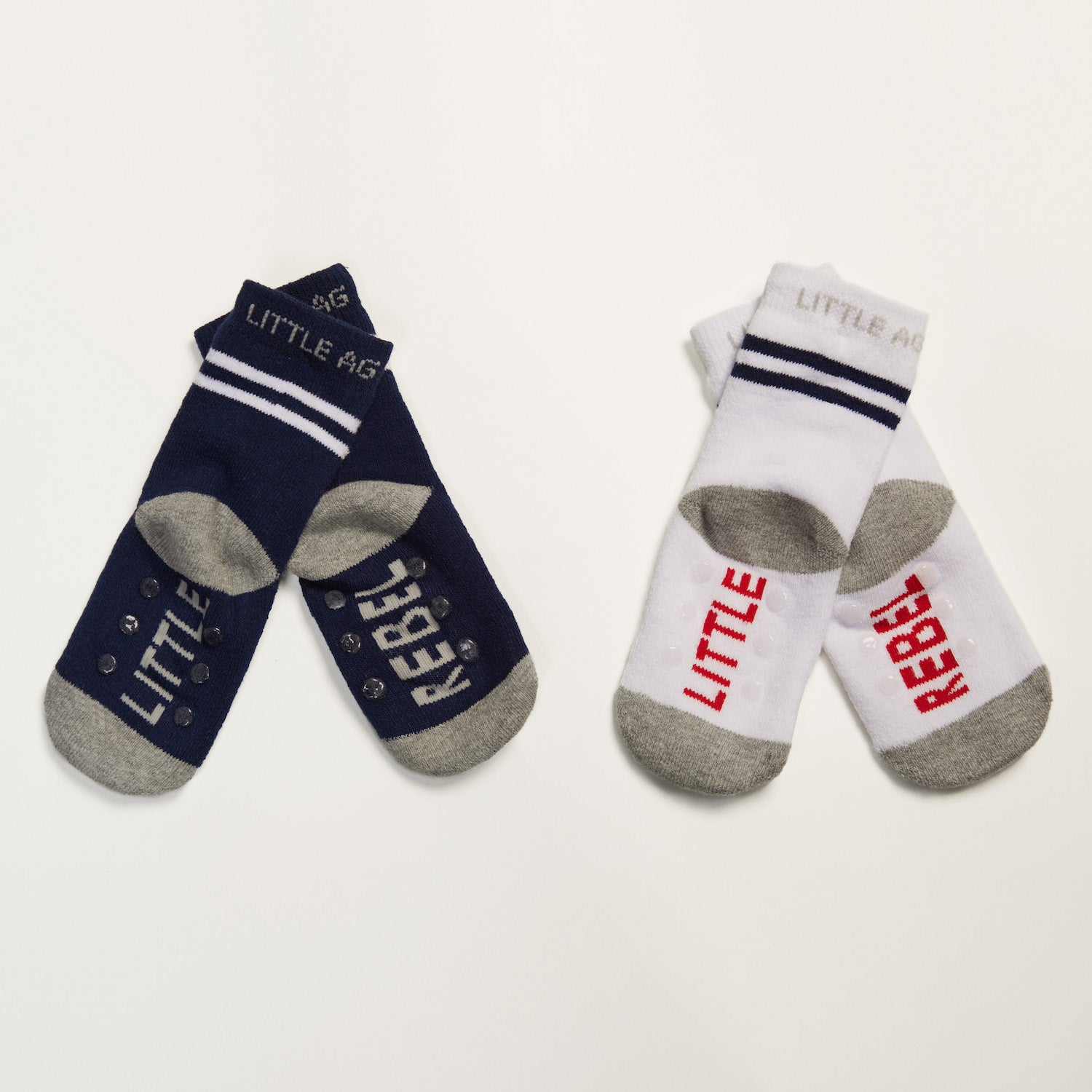 Little Rebel kids socks two pack bottom back view crossed