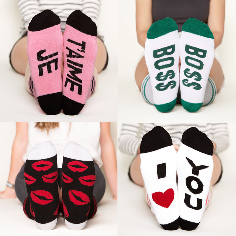 Socks for Mom Gift Set #2, je t'aime, bo$$, red lips, I heart you bottom front view grid