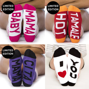 Socks for Mom Gift Set #3, baby mama, hot tamale, mama cita, I heart you bottom front view grid