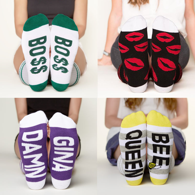 Socks for Mom Gift Set #4, bo$$, red lips, damn gina, queen bee bottom front view grid