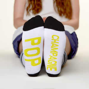 Pop Champagne socks bottom front view