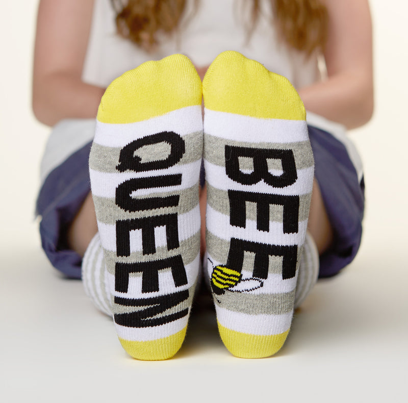 Queen bee socks bottom back view