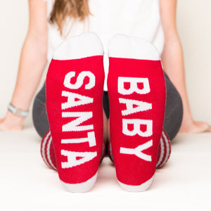 Santa baby socks bottom front view