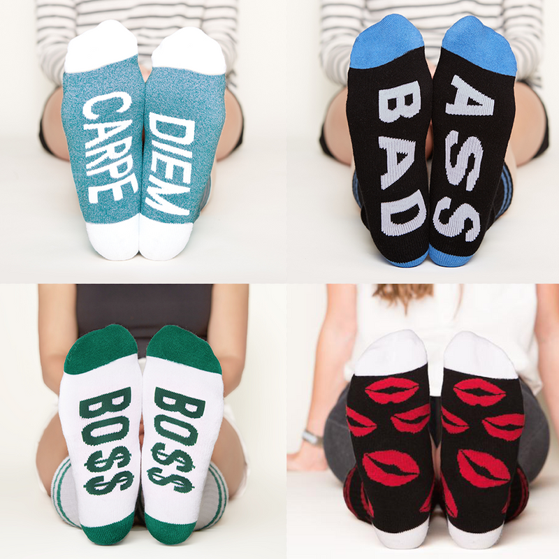 New Year New You socks gift set carpe diem, bad ass, bo$$, kisses bottom front view grid