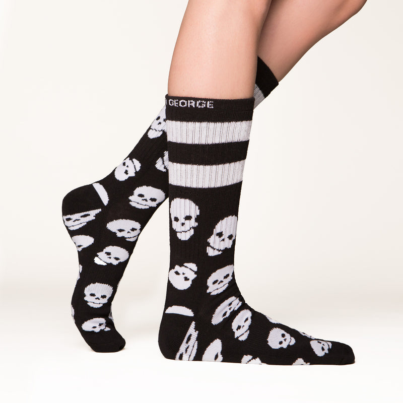 Skull socks side profile view