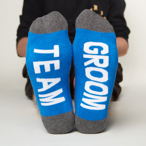 Team Groom socks bottom front view