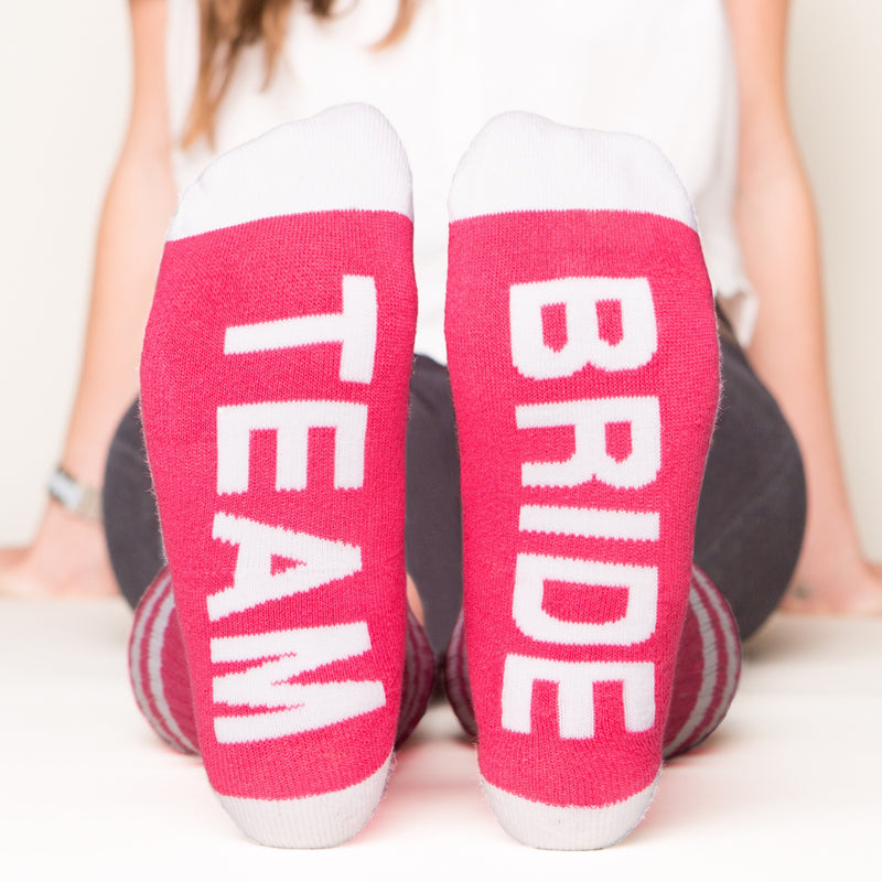 Team bride socks bottom front view