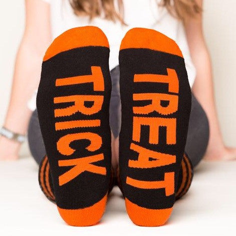 Trick or Treat socks bottom front view