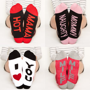 Socks for Mom Gift Set #1, hot mama, naughty mommy, I heart you, milf, bottom front view grid