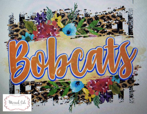 Orange Bobcats Floral/Leopard Spirit Tee