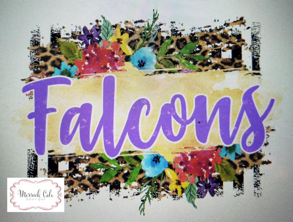Falcons (purple) Floral/Leopard Spirit Tee
