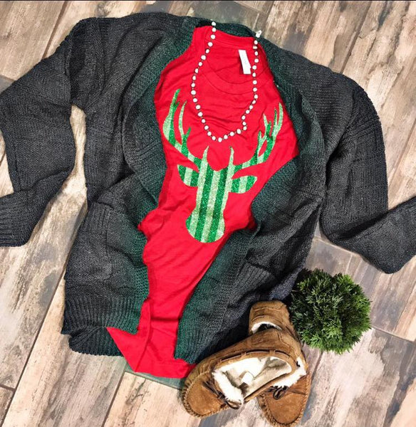 Glitter Reindeer Long Sleeve