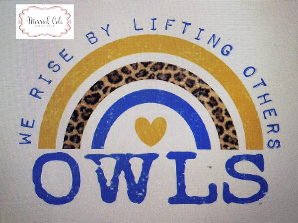 Owls (blue/gold) We Rise Tee