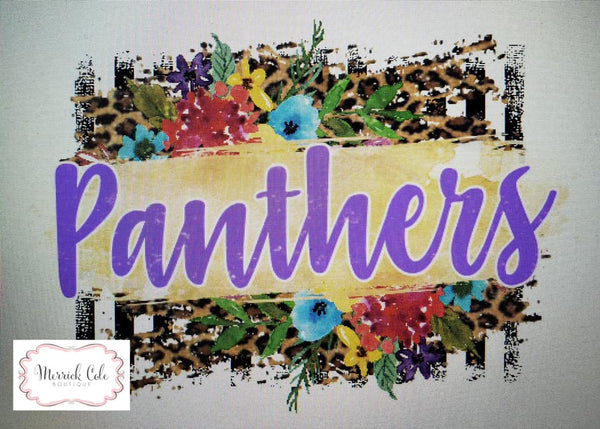 Panthers (purple) Floral/Leopard Spirit Tee
