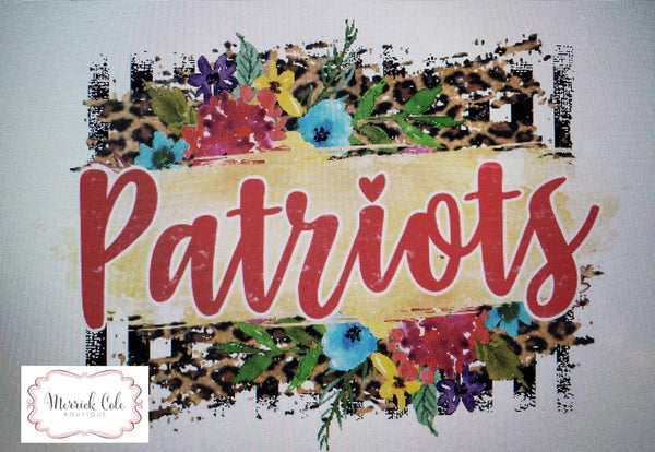 Patriots (red) Floral/Leopard Spirit Tee