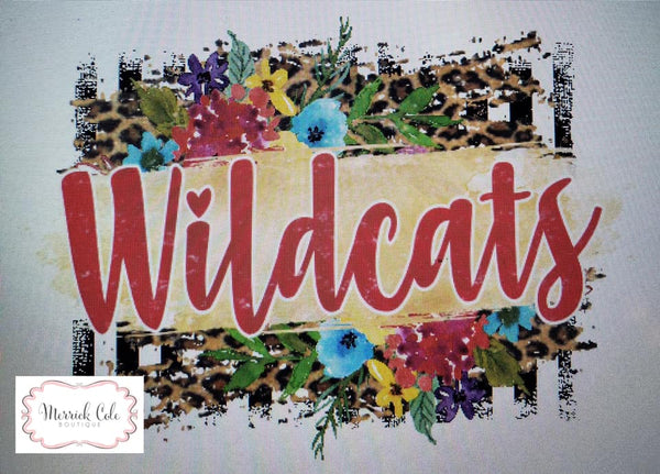 Wildcats (red) Floral/Leopard Spirit Tee