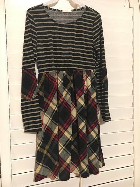Striped/Plaid Babydoll Top