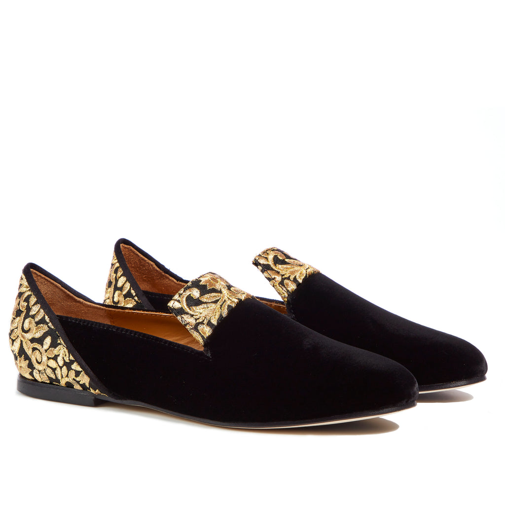 ee14676ff35 ... Black Rose of Kashan Black Velvet Loafers - Boté A Mano ...