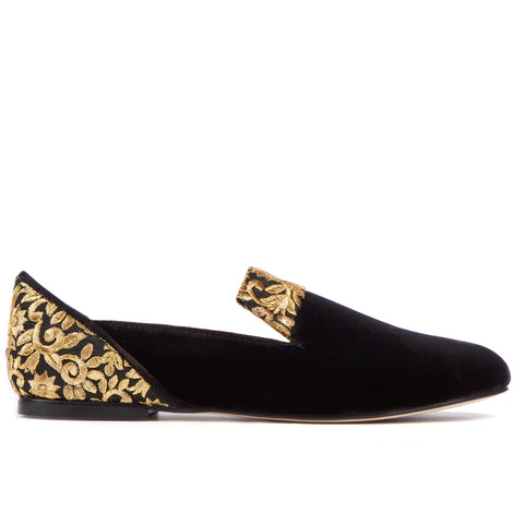 Black Rose of Kashan Black Velvet Loafers