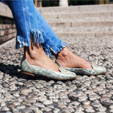 Ballet Flats Designer Shoes for Ladies Online UK, Caspian Waves Blue Ballet Flats - Boté A Mano
