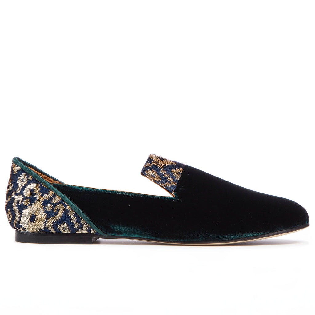 , Green Forest of Gilan Emerald Velvet Loafers - Boté A Mano