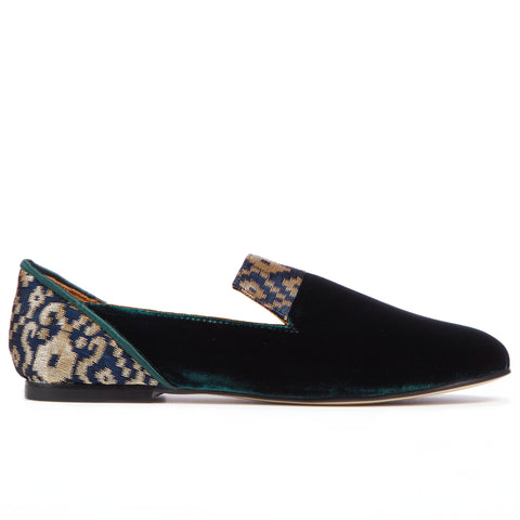 Green Forest of Gilan Emerald Velvet Loafers