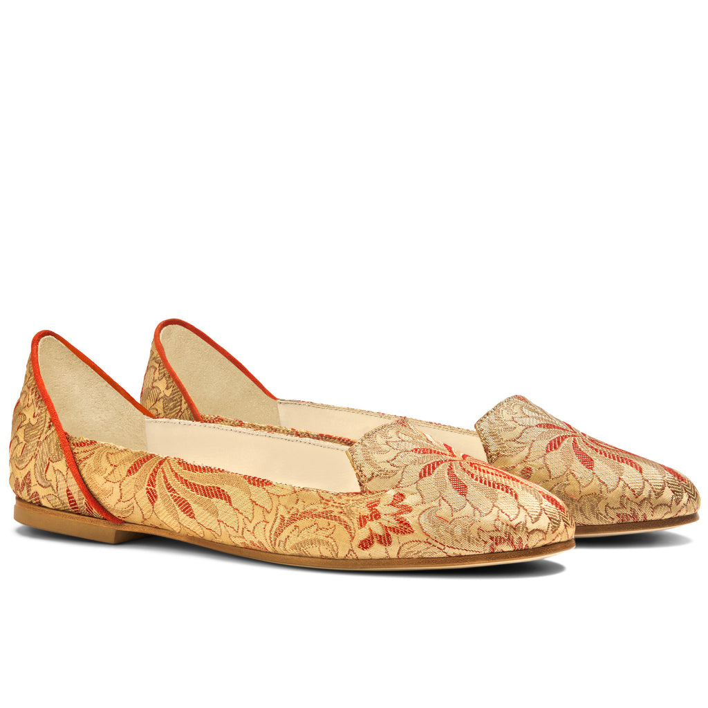 Ballet Flats Designer Shoes For Women Online UK, Lilian of Banaras Red Ballet Flats - Boté A Mano