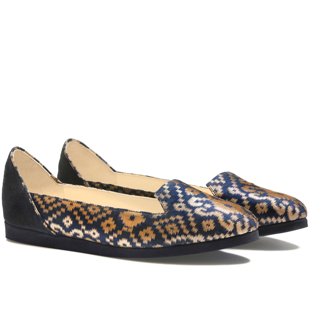 Ballet Flats designer Shoes For Women Online Uk, Midnight in Banaras (R) Blue Ballet Flats - Boté A Mano