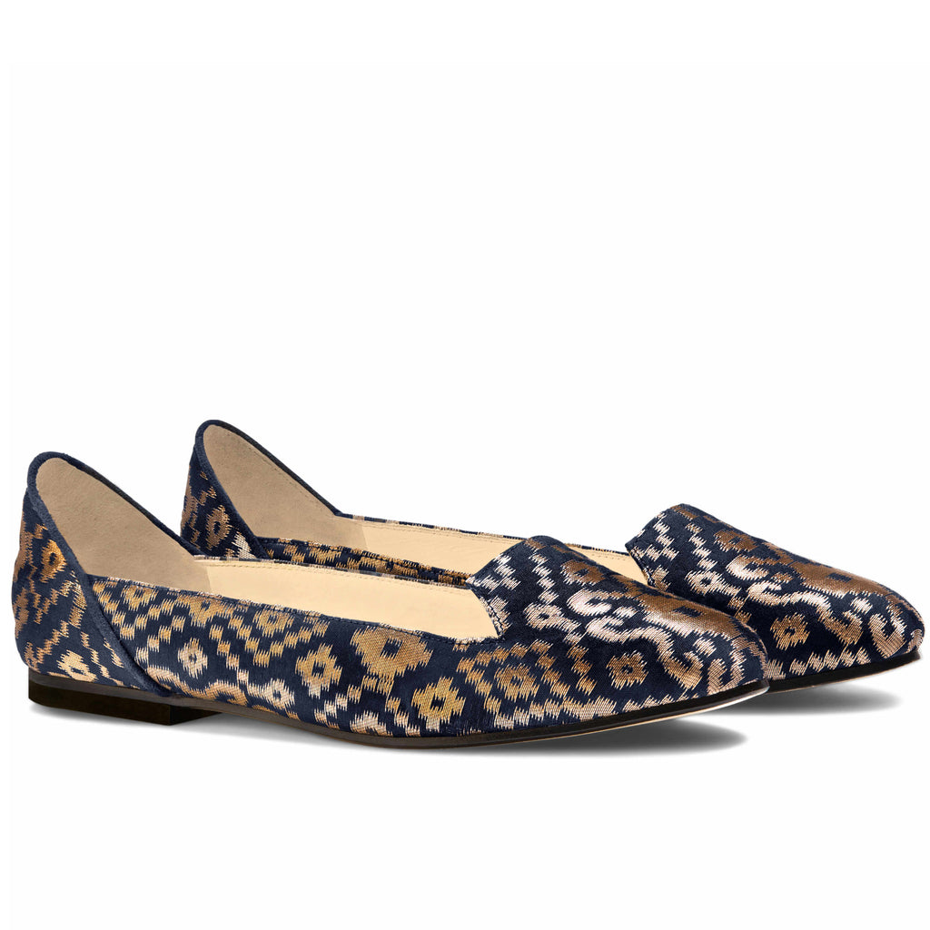 Ballet Flats Designer Shoes for Ladies Online UK, Midnight in Banaras Blue Ballet Flats - Boté A Mano
