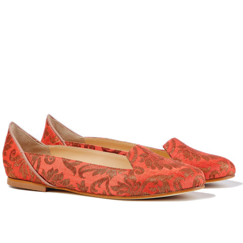 Lilian of Banaras Red Ballet Flats