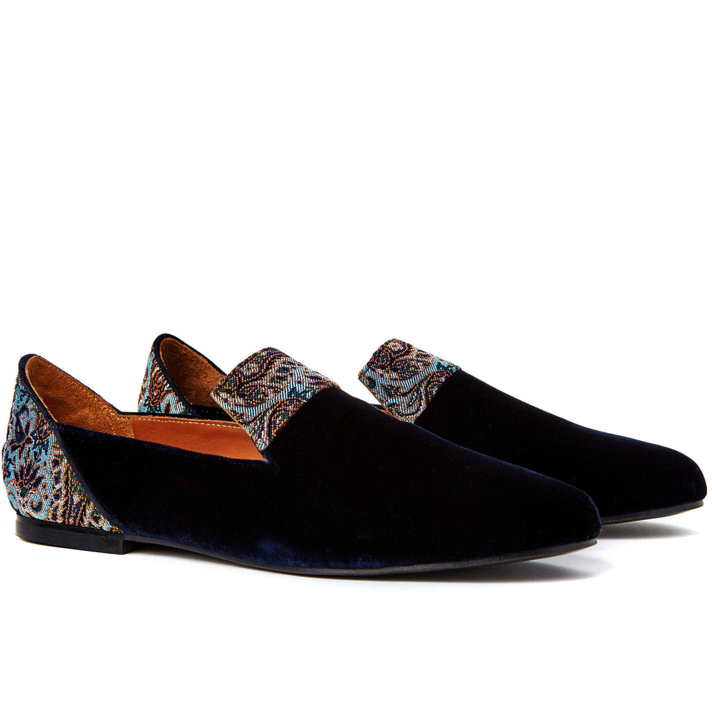 Loafers for Women, Persian Garden of Yazd Blue Velvet Loafers - Boté A Mano