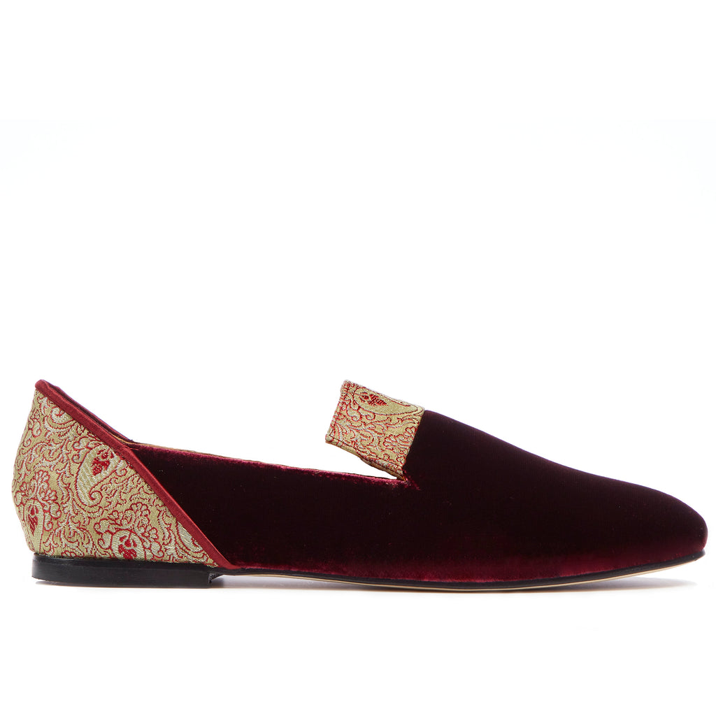 Loafers for Women, Red Essence of Shiraz Velvet Loafers - Boté A Mano