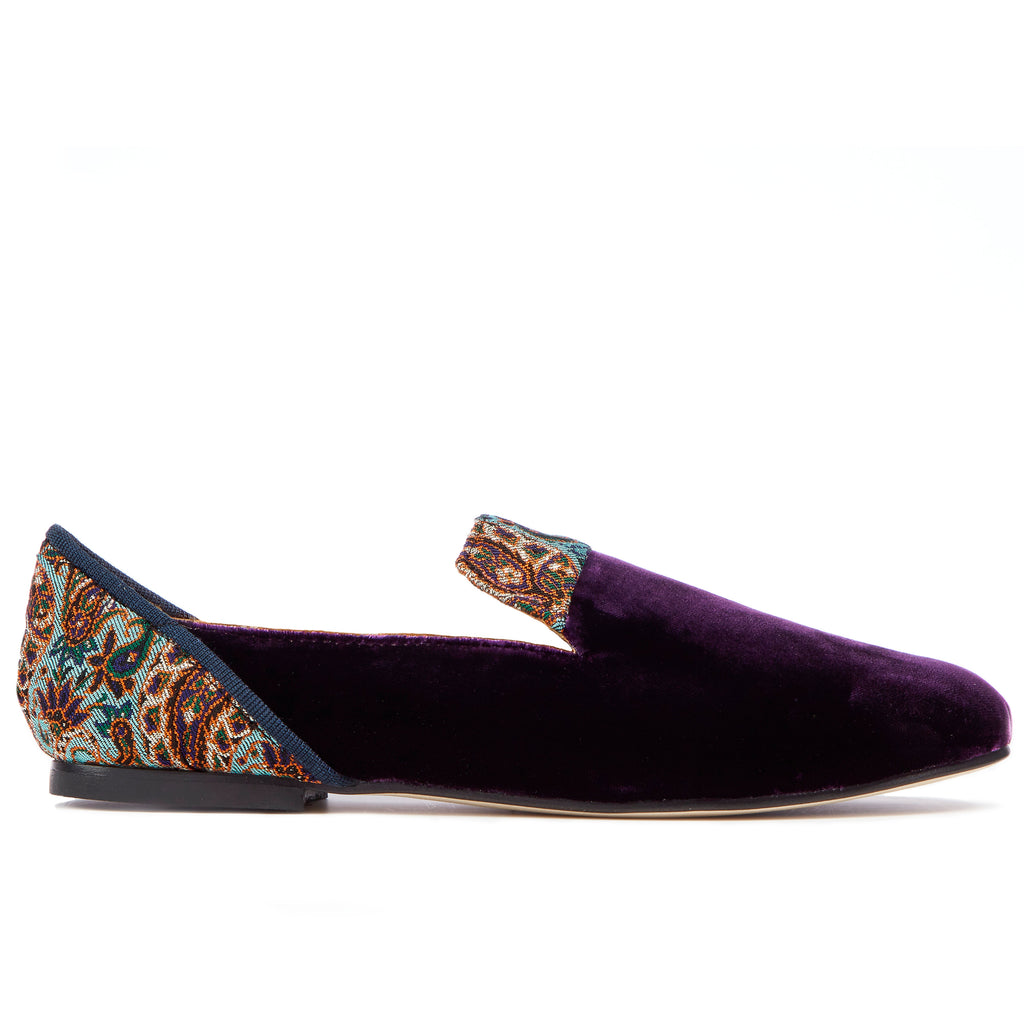 , Persian Garden of Yazd Purple Velvet Loafers - Boté A Mano