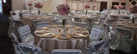 Quality Polyester  and Satin Table Linen Table Cloth for rent