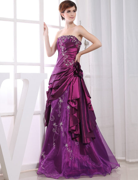 Don's Bridal Custom Made Purple Pleat Beaded Sequined Chiffon Long Evening Dress Party Dresses Vestido De Noche 2016 - Make Me Elegant