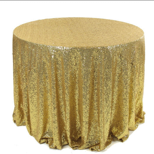 Table Linens - Sequin Gold, White and Silver for Rent Only - Make Me Elegant